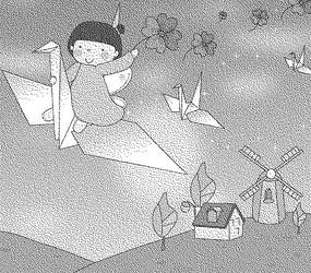 草地上的房屋和騎著紙鶴的女孩黑白卡通畫
