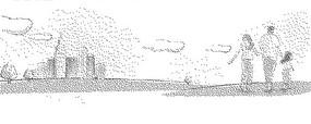高樓大廈和牽手的一家三口黑白卡通畫