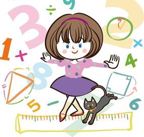 儿童卡通插画——在直尺上走路的小女孩和小猫咪