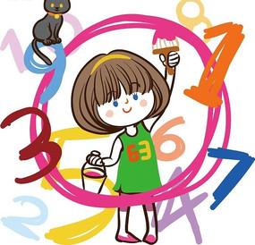 儿童卡通插画——粉刷出数字的可爱小女孩