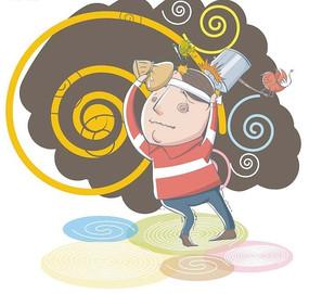 卡通插画——发烧头晕的男人