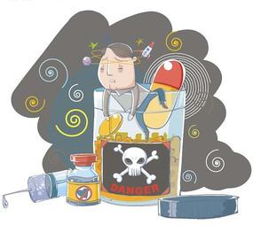 卡通插画 毒药胶囊水杯上头晕转向的男子