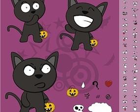 卡通插画 站立拿着南瓜的小猫动作表情集合