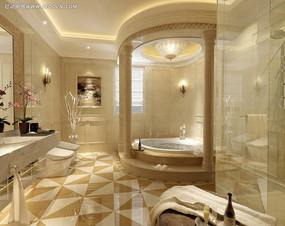 羅馬柱浴室衛生間裝修效果圖max