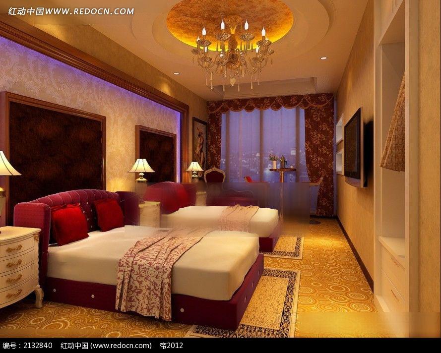 酒店豪华欧式标准间效果图max图片
