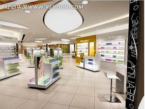 化妝品店展柜3d模型室內設計