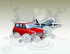 同心圆和飞机汽车矢量素材