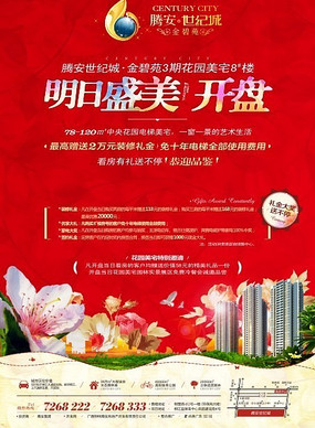 红色花纹房地产海报