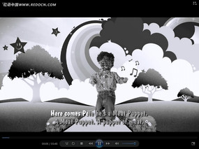 黑白卡通布偶動畫視頻