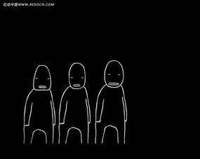 黑白卡通線條人物視頻