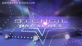 紫色光效五角星视频