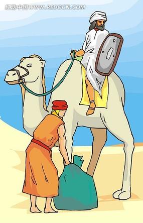 沙漠骆驼人物插图