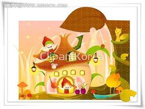 秋天的小房子卡通矢量人物漫画
