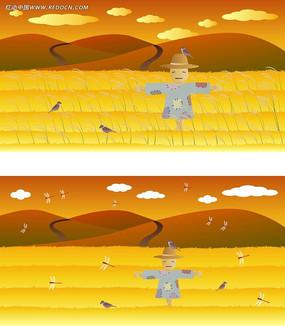 秋天的稻草人韩国矢量人物插画