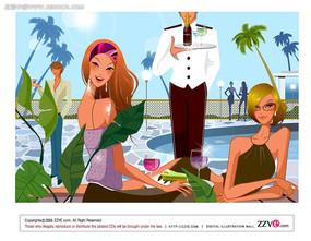 泳池派对时尚人物插画