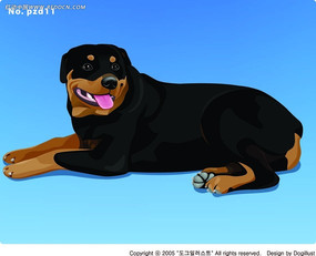 趴着伸舌头的黑毛狗手绘画