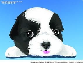 趴着伸舌头的小狗手绘图形
