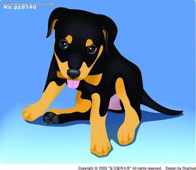 蹲着伸舌头的黑黄毛小狗手绘画