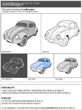 小型小汽车手绘图