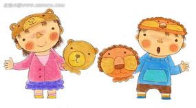 手绘拿着动物头套的小孩子时尚人物漫画