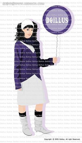 拿着紫色气球的卷发女生卡通漫画