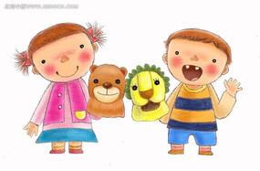 手绘拿着头套的小孩子人物插画