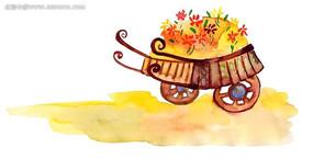 秋天的花水彩畫