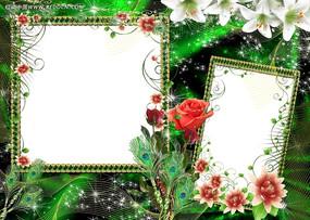 精美绿色照片边框