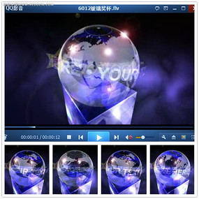 紫色光效水晶奖杯视频