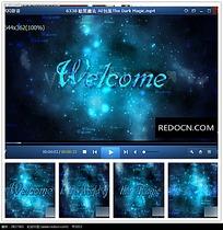 蓝色光效粒子欢迎片头视频