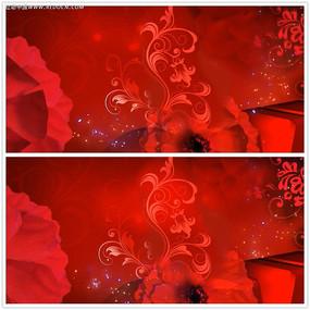 中国红花纹背景视频