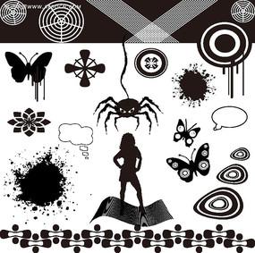 黑白幾何花紋背景圖案