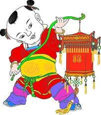 儿童拿灯笼传统文化春节素材