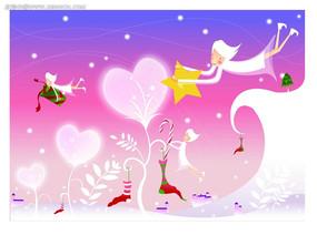 时尚唯美拿礼物的天使背景情人节卡片