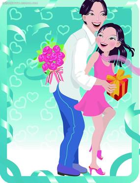 拥抱的情人背景情人节卡片