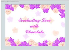 唯美巧克力边框背景情人节卡片