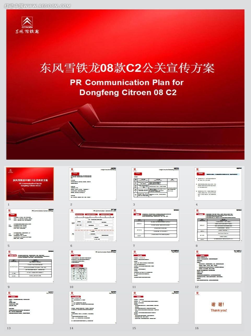 2008东风雪铁龙08款C2公关宣传方案ppt模板图片