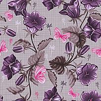 紫色手绘花纹背景图案