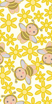 黄色蜜蜂小花背景连续图案