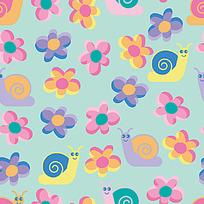蜗牛小花背景连续图案