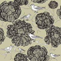 矢量花鸟底纹素材背景