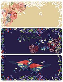 矢量花鸟装饰图案背景素材