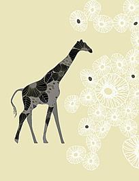 长颈鹿黑白花纹背景素材
