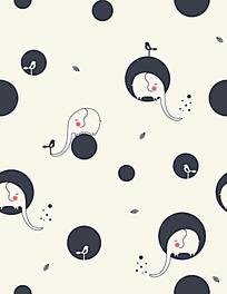 圆点大象小鸟背景连续图案