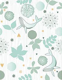 鲸鱼花纹树叶背景连续图案