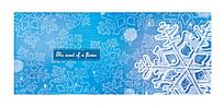 蓝色系雪花底纹背景模板