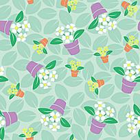 矢量花盆绿叶花纹背景