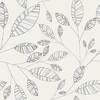 树叶黑白底纹花纹背景素材