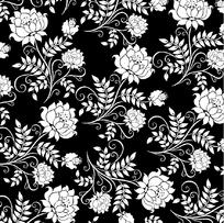 莲花花纹黑白底纹
