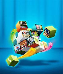 联通沃网络视频广告PSD分层素材